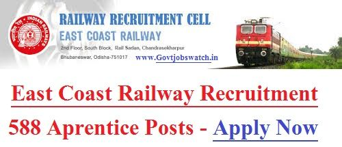 East Coast Railway Recruitment 2017, 588 Vacancy Notification, East Cost Railway Vacancy, East Coast Railway Jobs Form eastcoastrail.indianrailways.gov.in