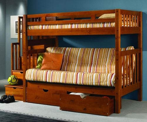 ★ Buy our Donco Mission Stairway Futon Bunk Bed here at Kids Furniture Warehouse ★ The affordable solid wood futon bunk bed is available in a beautiful Honey finish.