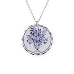 Blue Delft Necklace Circle Charm > Jewelry & Accessories > Artzee Chris' Gifts