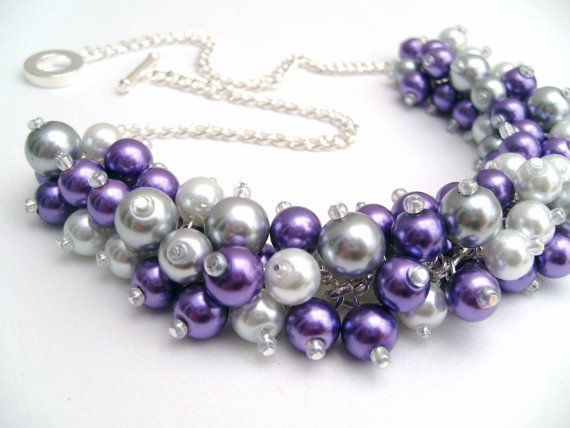 Set of 6 Purple Pearl Beaded Necklaces with Gray and by KIMMSMITH