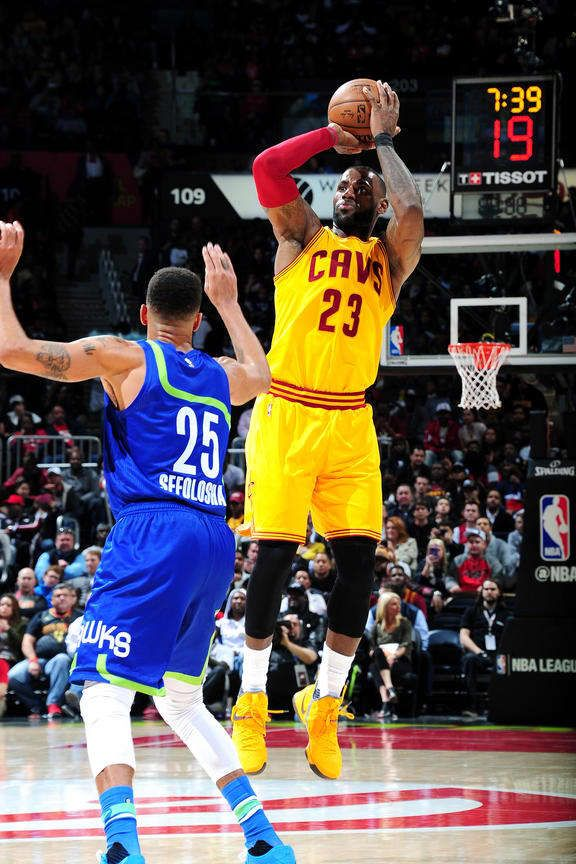 LeBron James #23 of the Cleveland Cavaliers shoots the ball during the game against the Atlanta Hawks on March 3, 2017 at Philips Arena in Atlanta, Georgia.