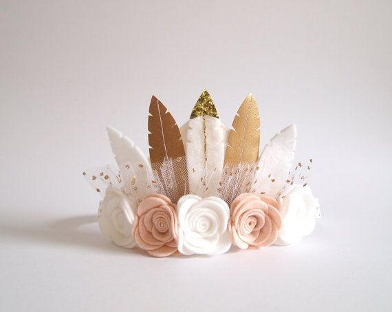 Neutral Rose Feather Crown    full size crown/ by kireihandmade
