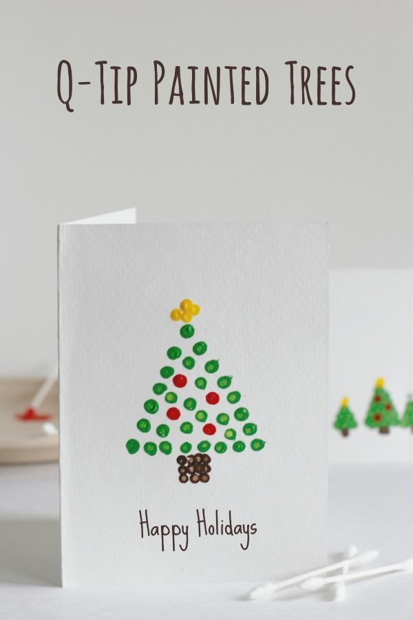Christmas tree art: Christmas tree Christmas card design for kids, using q-tips