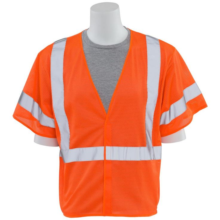 S662 M Class 3 Economy Poly Mesh Hi Viz Orange Vest, Size: Medium, Oranges/Peaches