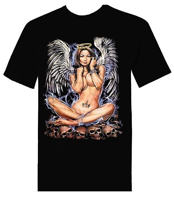 SKULL ANGEL Biker Style Tattoo T Shirt - 100% Cotton - Size X Large #RockEmpire #GraphicTee