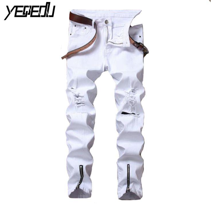 #1419 Distressed Stretch jean slim homme Fashion Skinny White With zipper Mens fashion denim Destroy Wash Punk style biker jeans