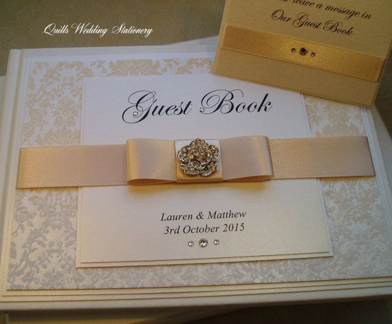 Luxury Personalised Wedding Guest Book By Quillsweddingfavours