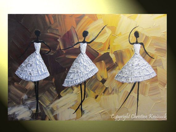 The Encore- ORIGINAL Art Abstract Modern Dance Painting Ballet Dancers Textured White Dress Palette Knife Musical Art Dancing Girls Figurative Wall Art Tutu Dress, Modern, Gallery fine art painting. Brown, gold, pale gold, grey, white, crimson red, Mixed media acrylic on 24x36x1.5 Gallery wrapped canvas. - Hand-painted, one-of-a-kind. Beautiful, vibrant, wonderful texture! The sides of the canvas are painted black so your new painting is ready to hang! The visual quality of this textured…