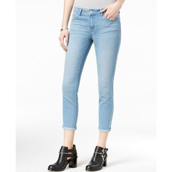 Jessica Simpson Juniors' Forever Rolled Light Blue Wash Skinny Jeans ($30) ❤ liked on Polyvore featuring jeans, medium blue, light blue skinny jeans, jessica simpson skinny jeans, skinny jeans, white skinny leg jeans and jessica simpson jeans