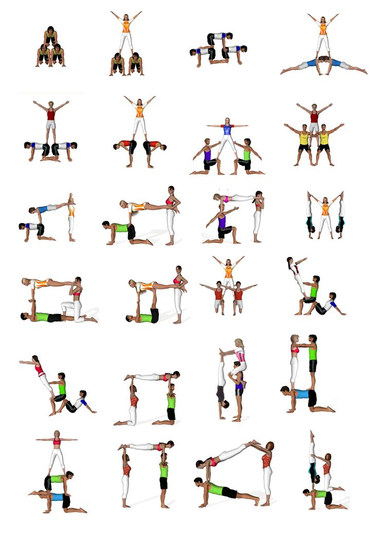 Acrobatics sport gym PE kids yoga partner