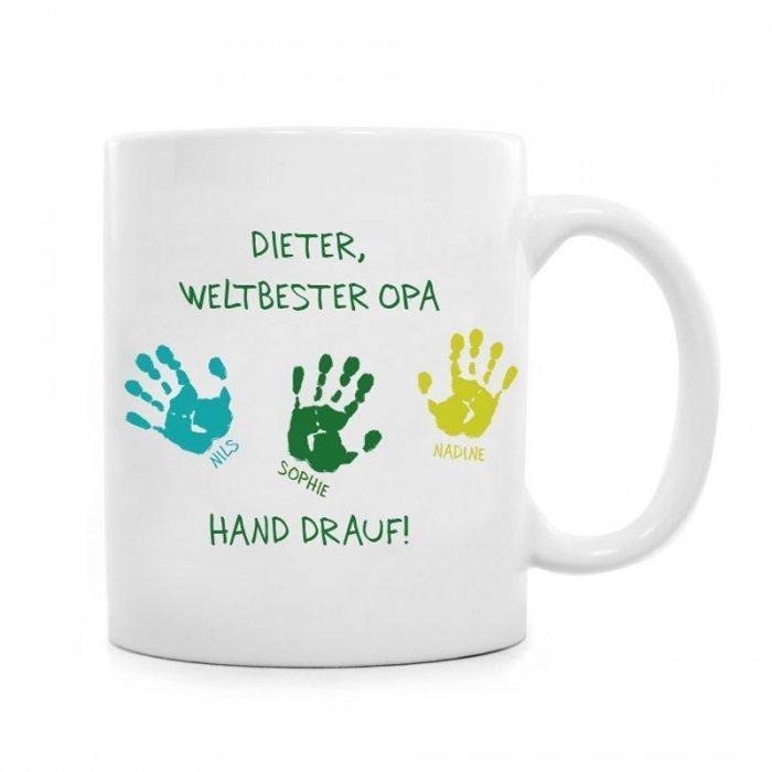 Diese Tasse ist ein persönliches Geschenk für Großvater. Auf der Tasse für Opa steht sein Name und die Namen von bis zu 4 Enkelkindern!
