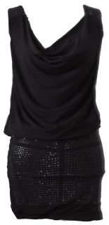 Add some sparkle to your evening!  Scoop neck dress with gold embellishment, Banded bottom.