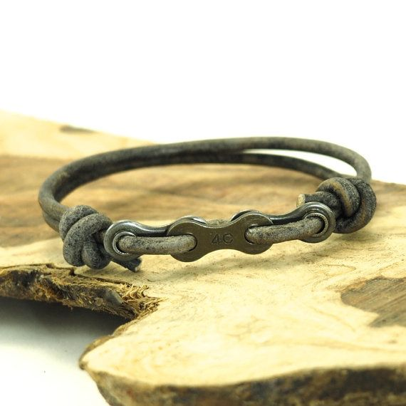 Bike Chain Bracelet - Leather Bracelet - Gray Leather - Bicycle Chain Bracelet…