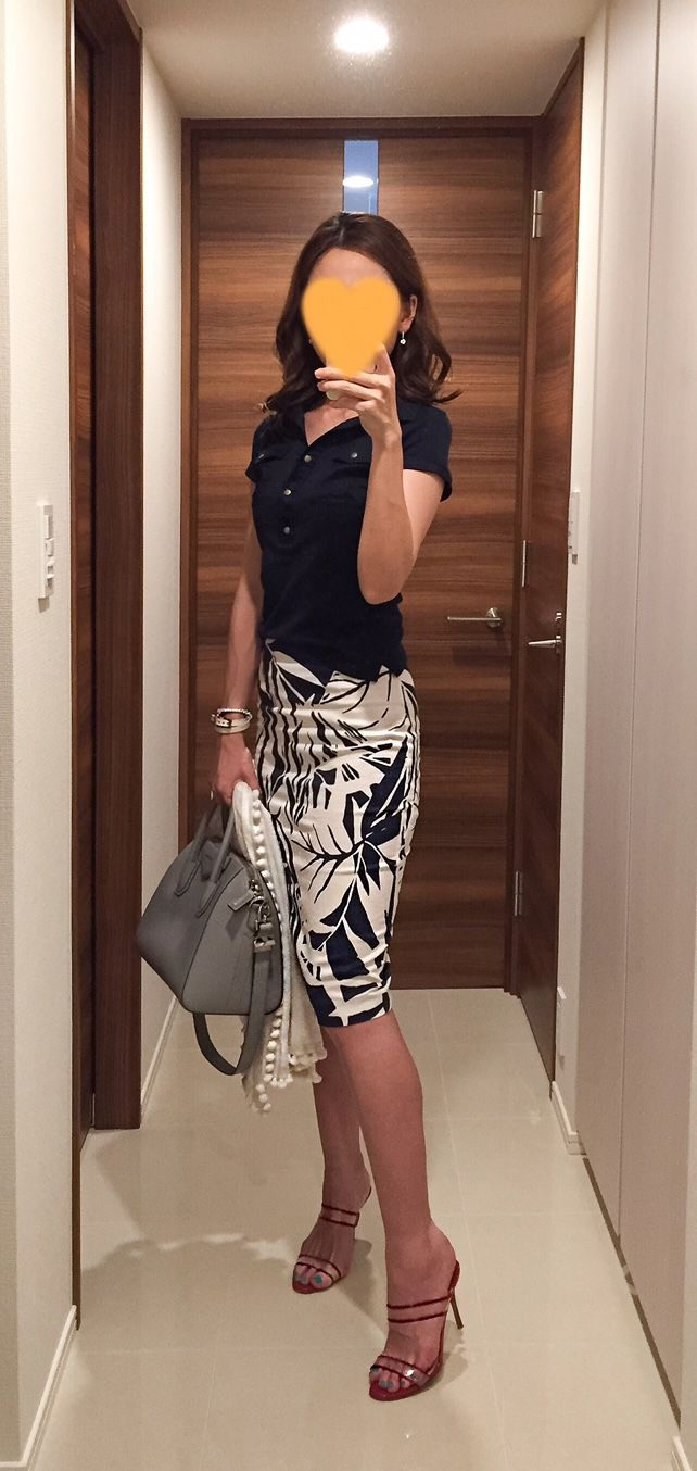 Navy polo shirt: M-premier, Skirt: Sisley, Grey bag: GIVENCHY, Red sandals: Manolo Blahnik