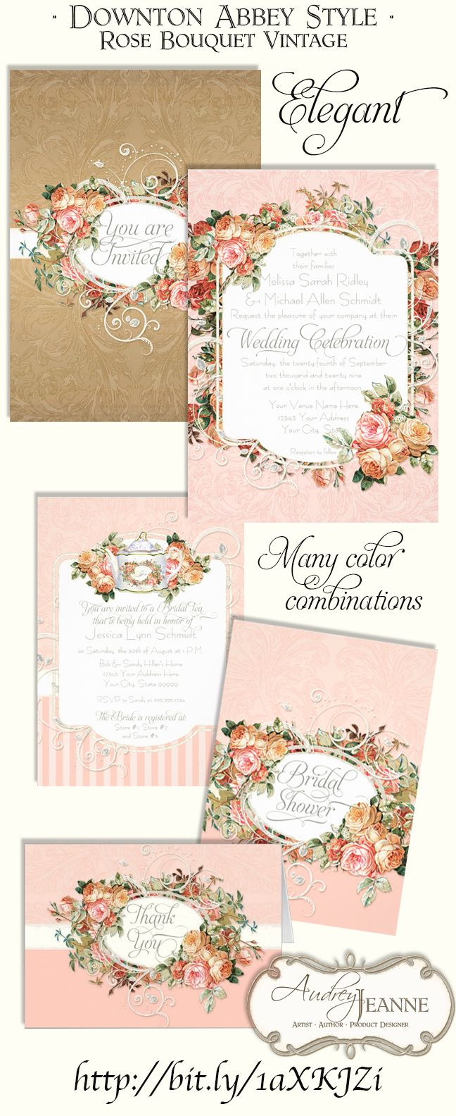 If your wedding theme is particulary lovely or lavish, this design might be for you!  For a modern, yet classic wedding invitation set worthy of even a Victorian, Edwardian or English Manor House wedding!  A beautiful vintage antique English style rose bouquet  in a rich colors have been mixed with modern swirl scroll flourish work and a subtle damask background design pattern.   #weddings #weddinginvitations #invitation #wedding #roses #elegant #blush #gold