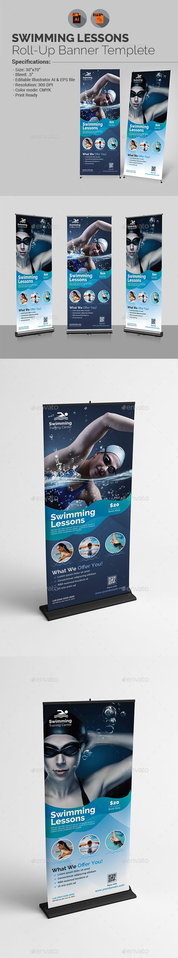 Swimming Lessons Roll-Up Banner Template Vector EPS, AI. Download here: http://graphicriver.net/item/swimming-lessons-rollup-banner-template/15526708?ref=ksioks