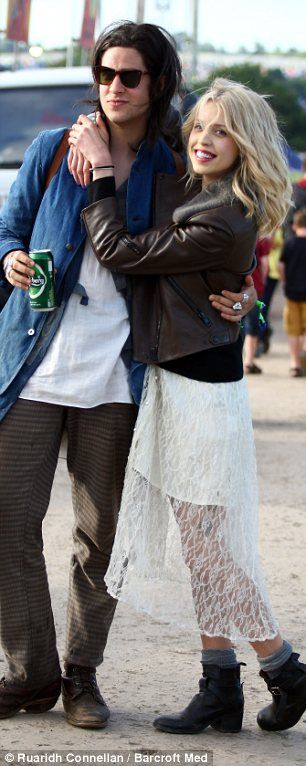 Peaches Geldof and Thomas Cohen at Glastonbury 2013.