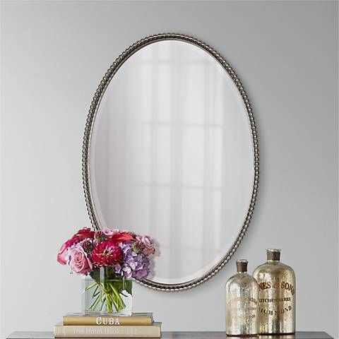 """Uttermost Brushed Nickel Sherise Oval 32 """" High Wall Mirror"""