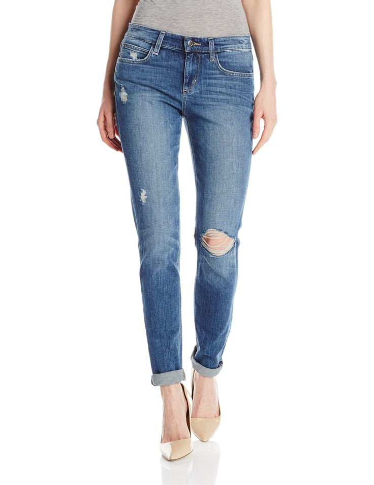 Joe's Jeans Women's Billie Slim Boyfriend Jean in Becky, Becky, 30. Distressed slim-fit jean featuring whiskering, fading, and threadbare holes. Rolled cuffs. Five-pocket styling.