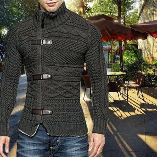 Autumn Winter Men's Turtleneck Button Long Sleeve Sweater