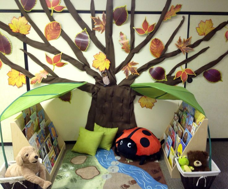 Design For A Preschool Classroom ~ Quiet corner use neutral natural colors tree made using