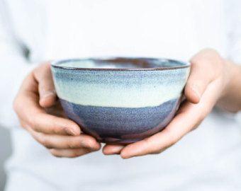 Azul brillante cereal Bowl de cerámica / / plato para el desayuno, aperitivos o sopa / / cereal Bowl, tazón de fuente del té, la sopa del tazón de fuente weel