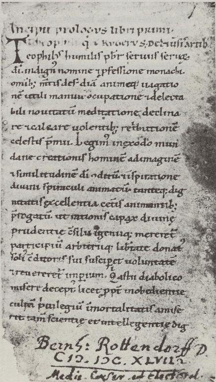 Schedula diversarum artium, page du manuscrit extrait du codex 2527, f° 1r (Vienne)