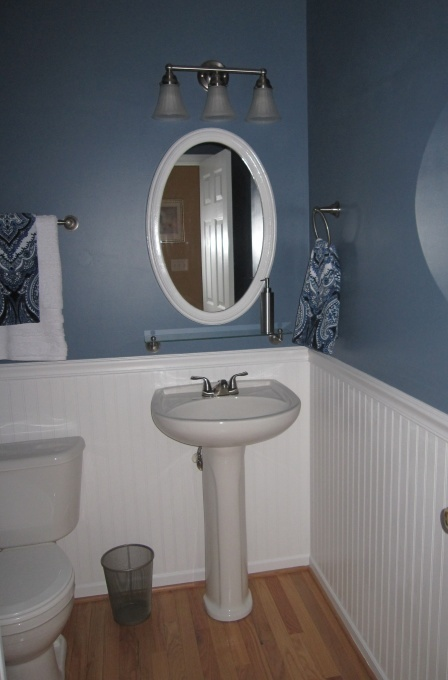 Half Bath Pedestal Sink, Beadboard, Wood Floors