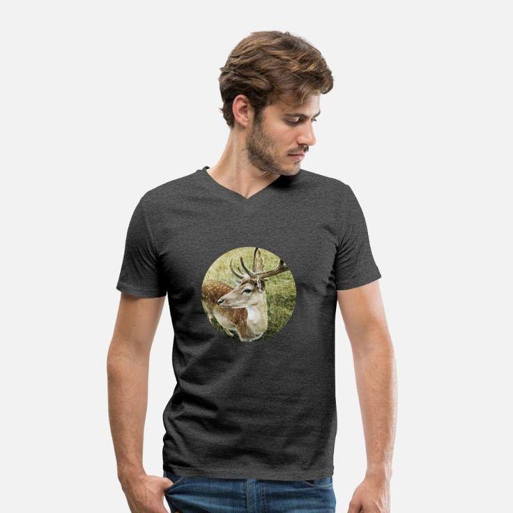 Hirsch Waldtier Fotografie Männer Bio-T-Shirt mit V-Ausschnitt von Stanley & Stella – Schwarz