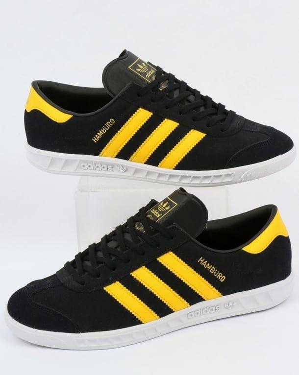 Adidas Hamburg Trainers Black/Yellow/White | Adidas hamburg, Black ...