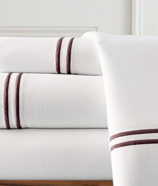 1000 Thread Count Egyptian Cotton Sheet Set with Double Marrow Hem 4pc (White/Chocolate) Queen