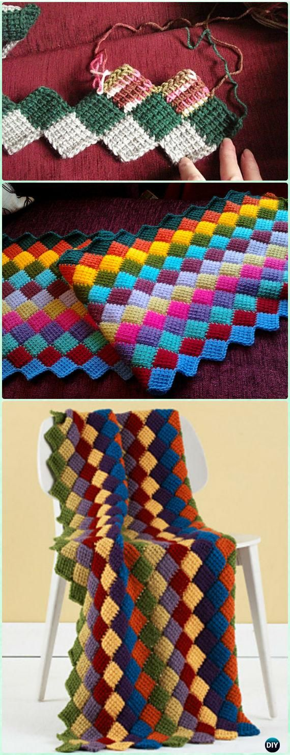 Tunisian Crochet Entrelac Throw Blanket Free Pattern - Crochet Block Blanket Free Patterns
