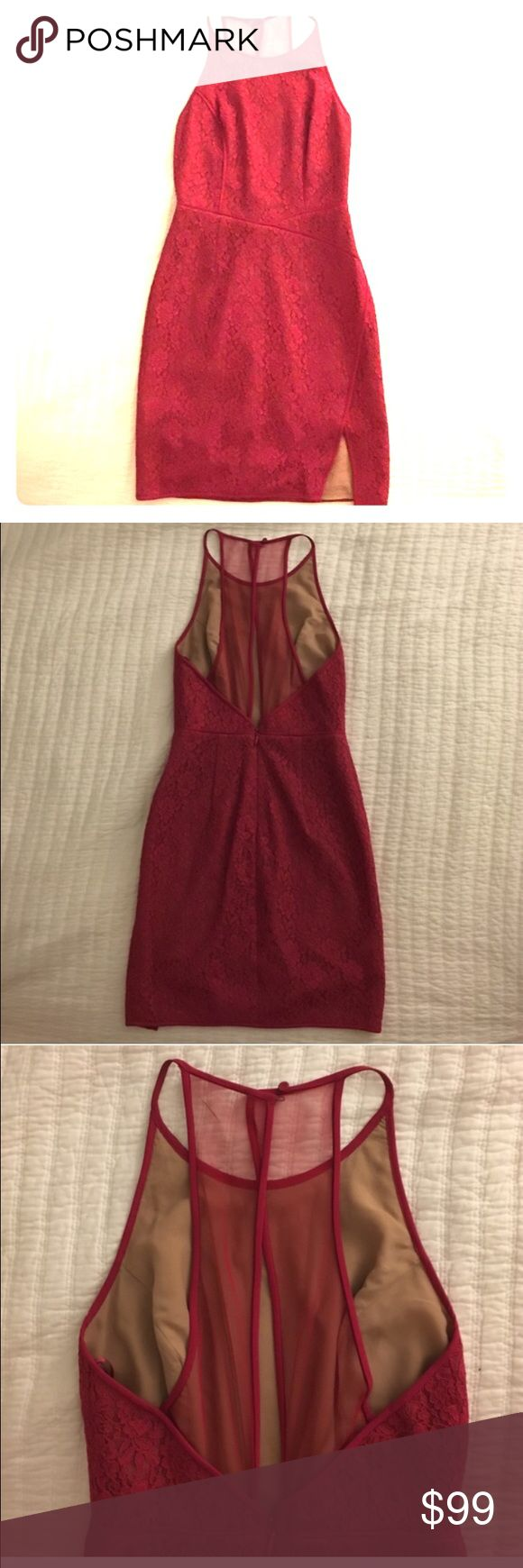 BCBG Valentines SALE❤️💐 💐JUST REDUCED! TEMPORARY SUPER LOW PRICE!!                                                                            Fushia/Burgundy lace, fully lined. Tulle peep back.  **see second listing for more model pics. In the 4th pic here I am pinching the back tighter to show how it would fit if altered to fit my size properly. BCBG Dresses