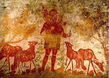 Arte paleocristiano, Catacumba, Para crear estasrepresentaciónes se toma como modelo griego antiguo de Orfeo, personaje perteneciente al culto pagano. En el mito de Orfeo se cuenta que encantaba a los animales con la música que producía con su lira. Y se une con el arte pagano de Roma, el cual consideraba la figura del Buen Pastor como un símbolo de filantropía, con lo cual el significado se construyo a partir de la filosofía moral romana.
