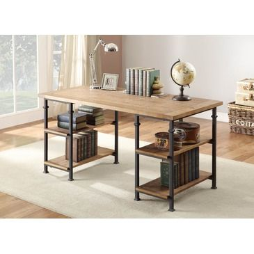 Blending the look of vintage industrial with modern design is the Factory Collection. Burnished rustic wood planks make up the desk top and features wrought iron style metal framing that supports both the top and the wooden display shelves. The continuous finished design makes this unit flexible...