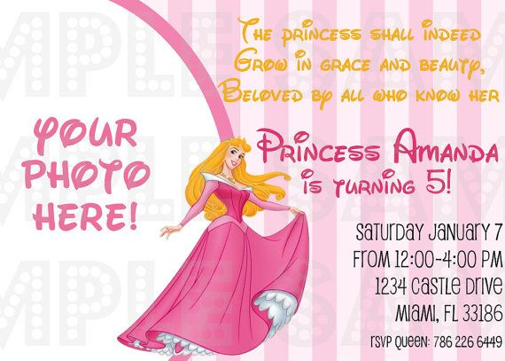 Princess Aurora Party Invitations Princesses Sleeping Beauty Cut Out