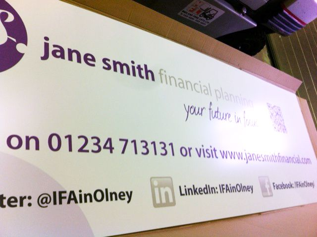 Composite Aluminium board for Jane Smith Financial Planning