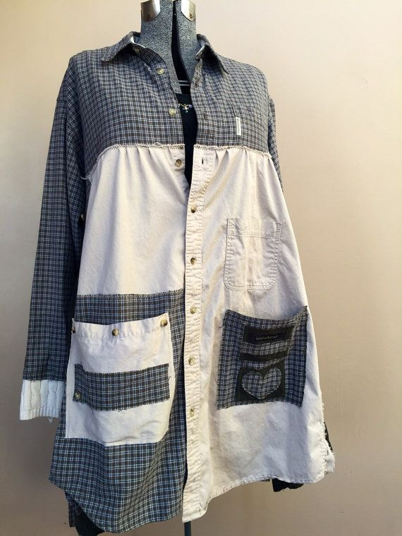 XXL Upcycled Reconstructed Duster Coat / Patchwork от Cathrineann