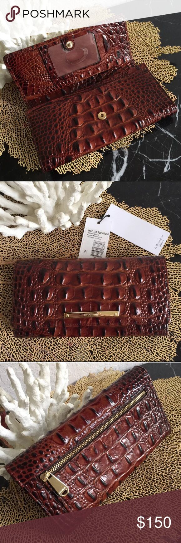 "⚓️NWT ⚓️BRAHMIN JILLIAN ⚓️PECAN ⚓️WALLET⚓️ Brahmin PECAN ""JILLIAN"" Wallet  Croc embossed leather   12 Credit Card slots   Tons of organization! Roomy enough for your larger cell phone and a small ring of keys with its 4 slip in compartments plus center zip compartment   ID window   Also a back zip coin pocket  Snap closure   Goldtone hardware  Brand new, tag removed but will send, Pristine, never used    Fast shipping!! Brahmin Bags Wallets"