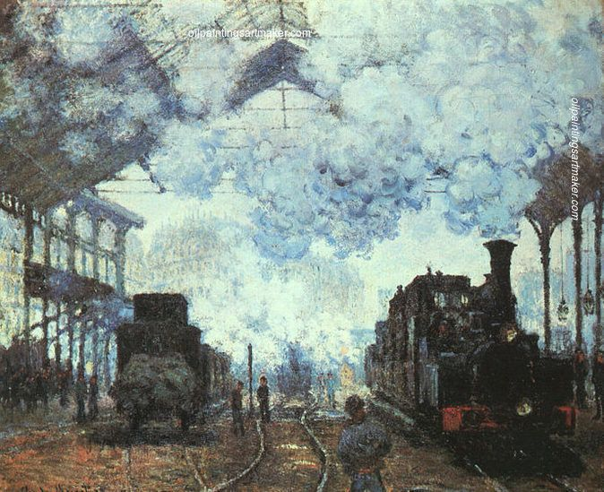 Claude Monet Gare St Lazare 1877 Abstract Oil Painting