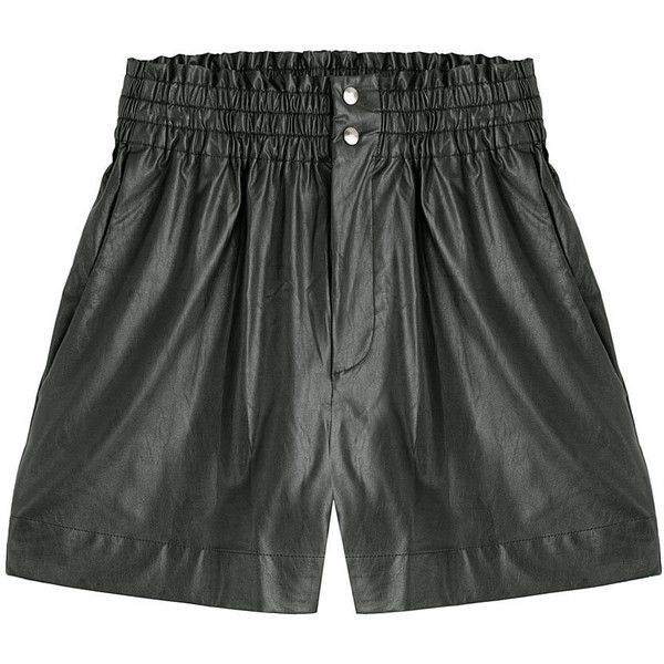 Isabel Marant Etoile Faux Leather Shorts (€149) ❤ liked on Polyvore featuring shorts, black, leather look shorts, stretch waist shorts, vegan leather shorts, relaxed fit shorts and elastic waistband shorts