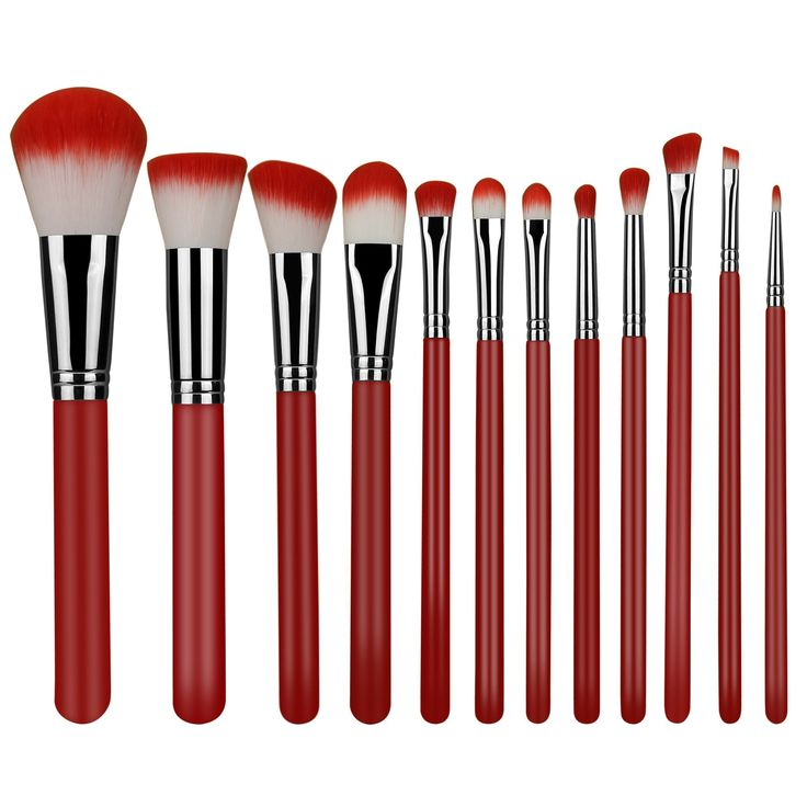 makeup brushes 12 piece set Synthetic Foundation Blending Blush Powder Concealers Makeup Brush Set Eyeliner Face Brush Makeup Brushes Kit Cream Cosmetics Brushes Red. Ultra-soft synthetic fiber of makeup brush, which ensures no bristle fall out applies makeup easily provides a new makeup experience ,allows for even and streak free application of makeup. Synthetic taklon bristles are non-porous and do not trap or absorb product, bacteria and dead skin cells provides a better stability and...