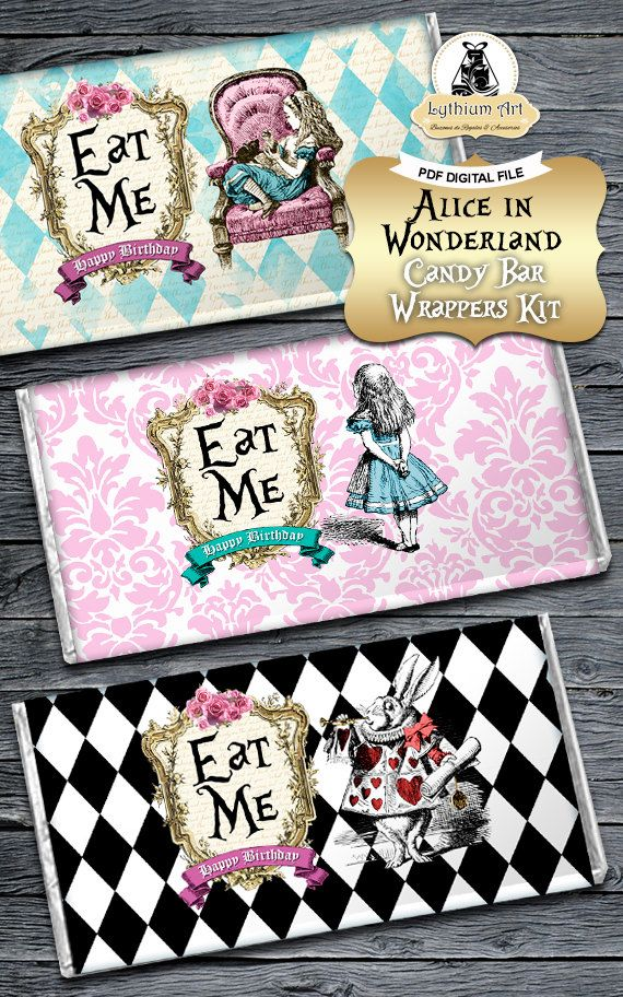 Alice in Wonderland Candy Bar Wrapper  Alice in por LythiumArt