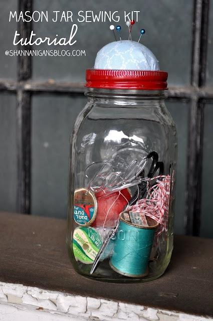 what a great gift idea! - DIY mason jar sewing kit. via shannanigansblog.com