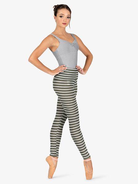 Natalie Womens Striped Knit Warm Up Roll Down Leggings