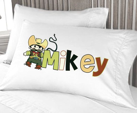 Personalized Cowboy Pillowcase for boys birthday gift by eugenie2