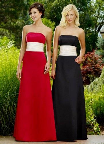 Hot Red And Black Floor Length Chiffon Satin Bridesmaid Dress 128 00