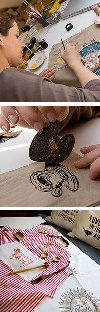 linocut stamp  *Great idea, use linocut on fabric!