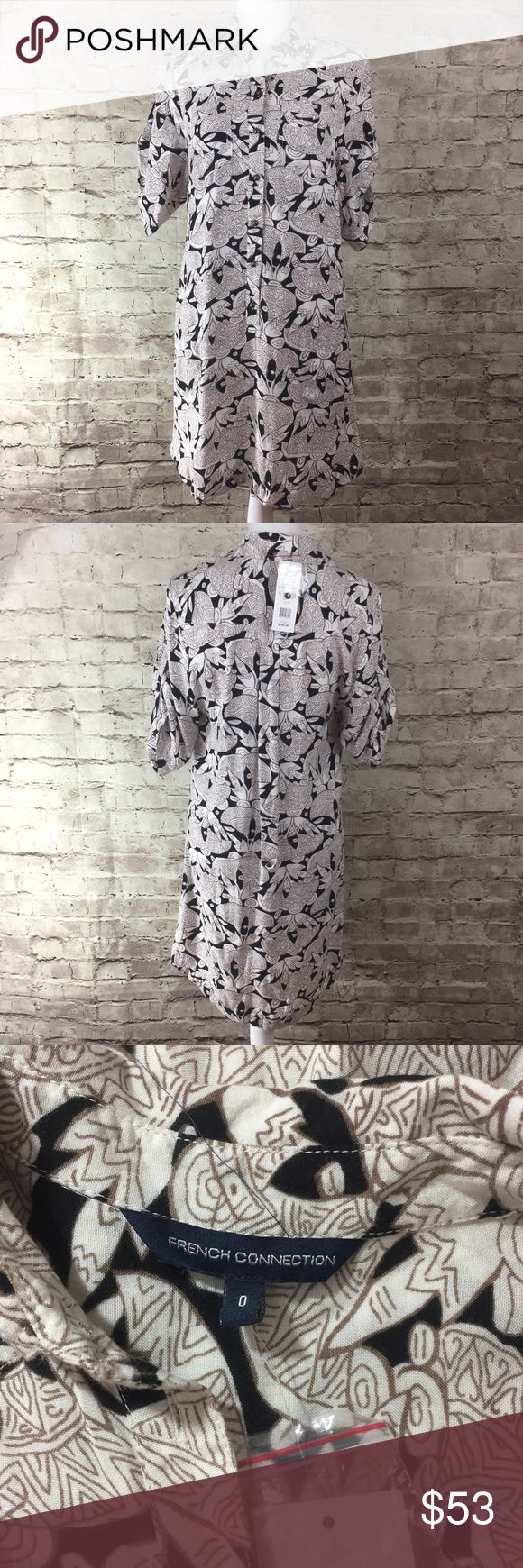 French Connection Shirt Dress Printed shirt dress new with tags • has pockets • not lined and material is lightweight • has 3/4 sleeves with buttons to fold over French Connection Dresses Mini