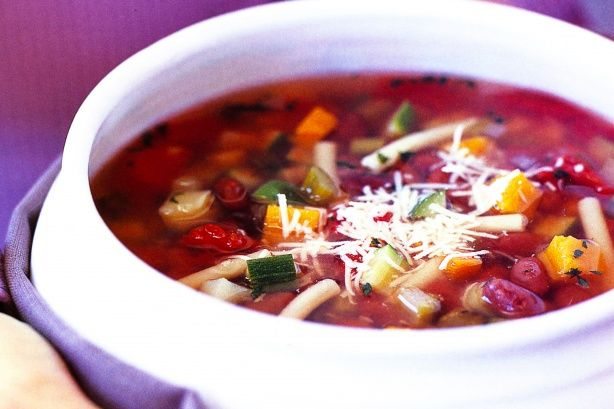 Minestrone soup. In addition to this recipe I substituted stock instead of water and gnocchi instead of the normal macaroni plus I added green beans, fresh corn, and a splash of white wine. Yummo!